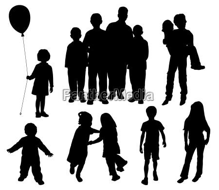 bambini sagome vettoriale eps