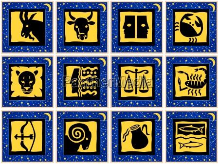 quadrati con segni dello zodiaco