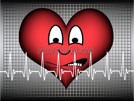 cuore ansioso su sfondo griglia grafica