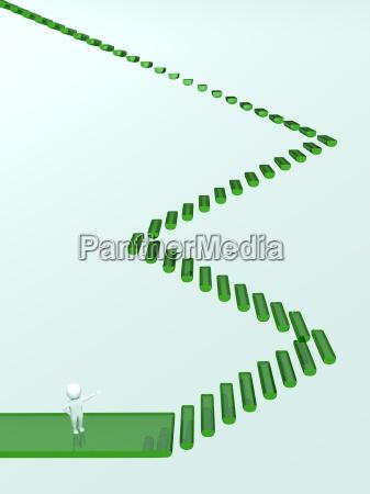 3d man stairway green