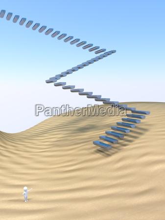3d man stairway