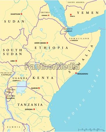 mappa politica dellafrica orientale