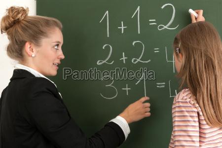 lavagna pannello scolara matematica contare insegnante