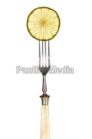 oggetti disco perpendicolare forchetta lime annata