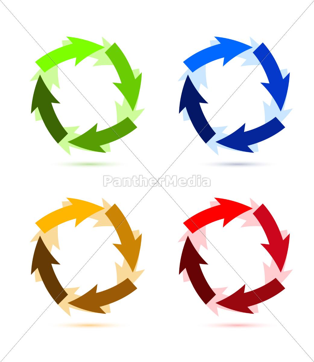 un, coloratissimo, circolare, illustrazione, freccia - 10165753