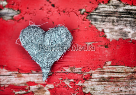 grey heart on red