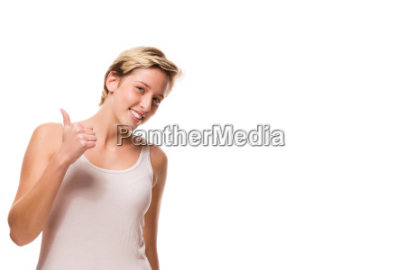 young woman showing thumbs up