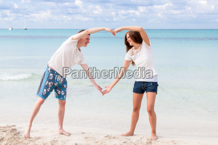 laughing young couple in love on