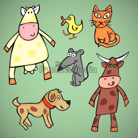 rilasciato cane illustrazione appartato anatra mucca