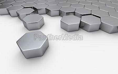 esagono in argento concetto di blocco