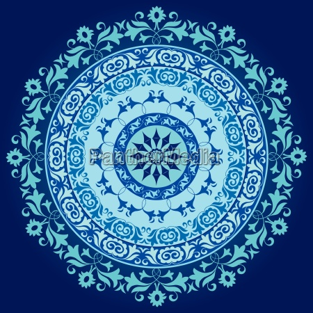 blue ottoman serial circle ornament