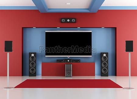 sala home cinema rossa e blu