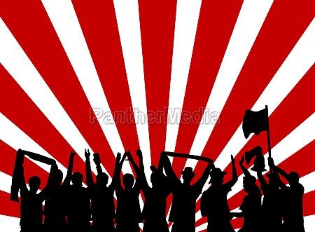 sfondo rosso e bianco con silhouette