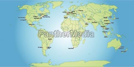mappa dei capitali del mondo in