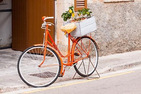 bicicletta signore in fiori darancio in
