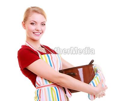 casalinga felice o chef in grembiule