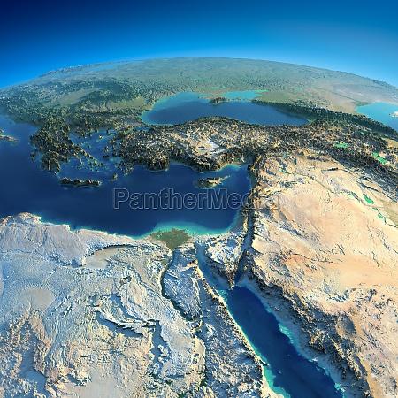 terra dettagliata africa e medio oriente