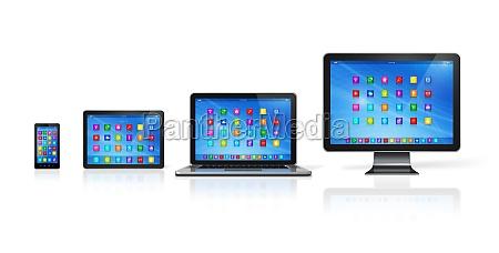 set di dispositivi informatici