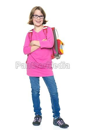 girl with satchel