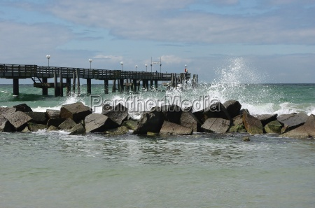 pier and breakwaters on the beach
