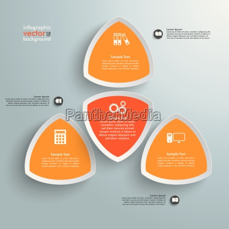 4 round triangles orange infographic
