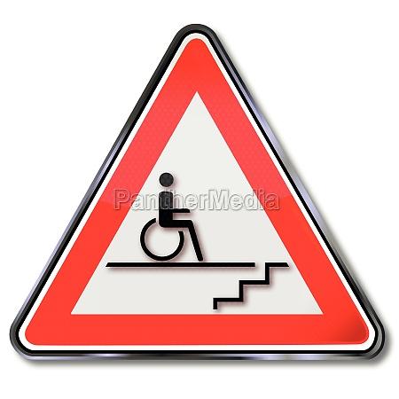 sedia a rotelle ostacolo scala ostacoli