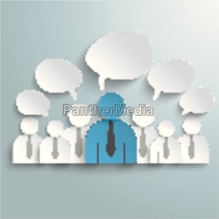 seven business humans speech bubbles piad