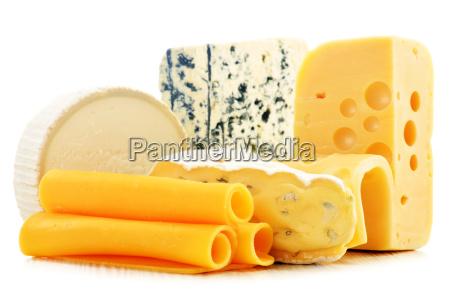 diversi tipi di formaggio isolato su