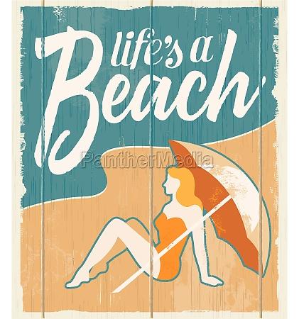 vintage retro beach poster vector
