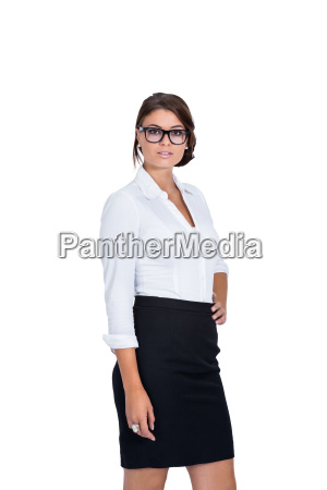 young laughing business woman with dark