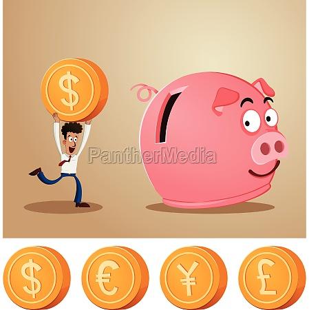 risparmio di denaro in salvadanaio