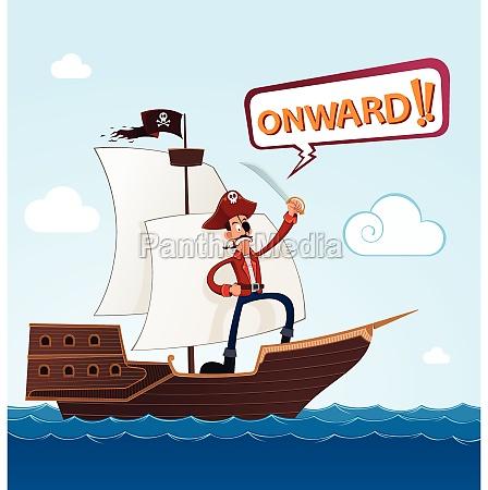 pirata su una nave a vela