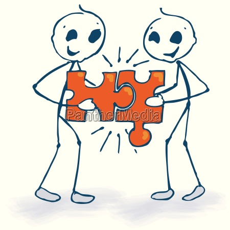 stick figure and puzzle