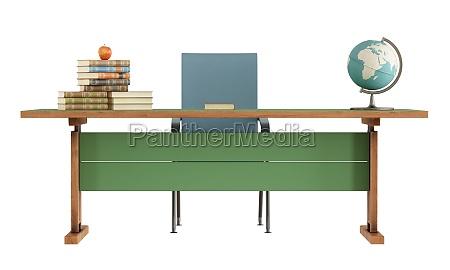 scrivania dellinsegnante retro su bianco