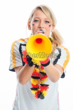 bionda tifoso con vuvuzela