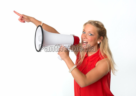 blonde woman with megaphone