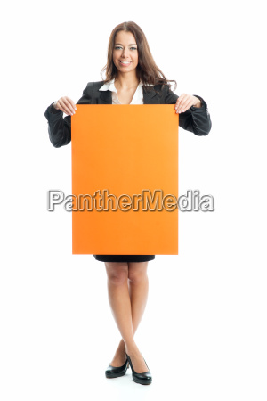young businesswoman keeps an advertising sign