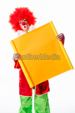 clown is holding advertising sign