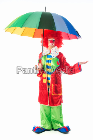 clown with umbrella