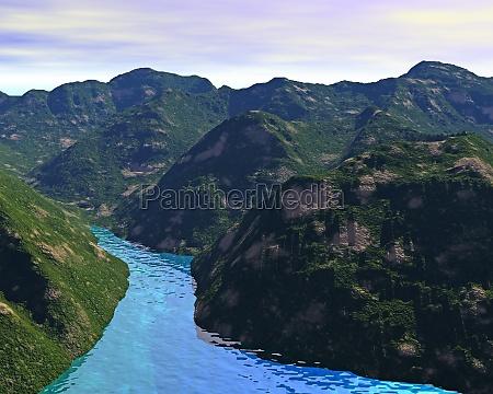 montagne foreste computer grafica fiume acqua