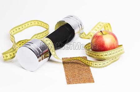 dumbbell apple tape measure