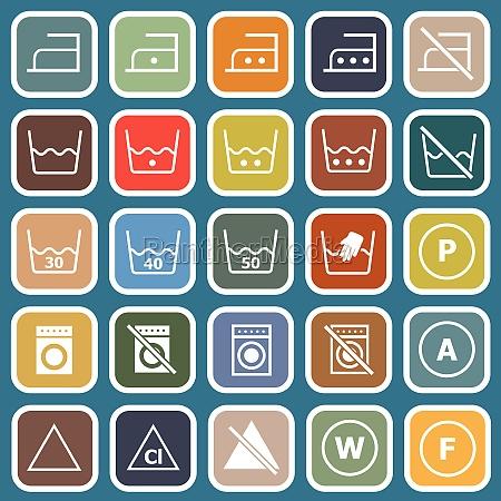 lavanderia icone piatte su sfondo blu