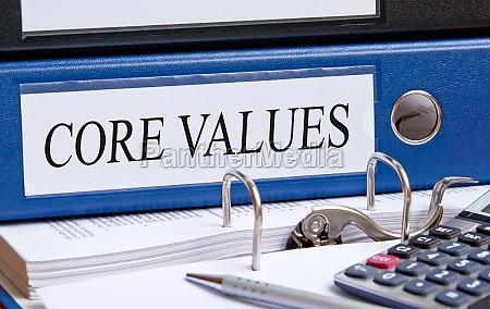 valori fondamentali legante blu in ufficio