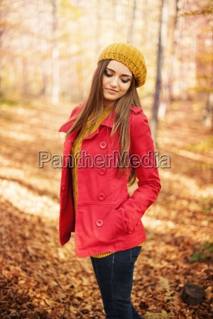 portrait of beautiful autumn woman