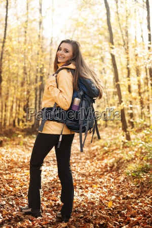 portrait of beautiful and smiling hiker