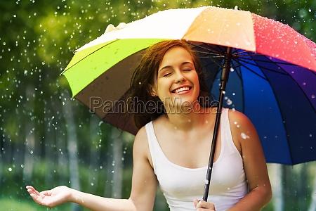 beautiful, woman, enjoying, summer, rain, - 12109504
