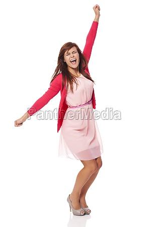 giovane, bella, donna, urlando, di, gioia - 12109632