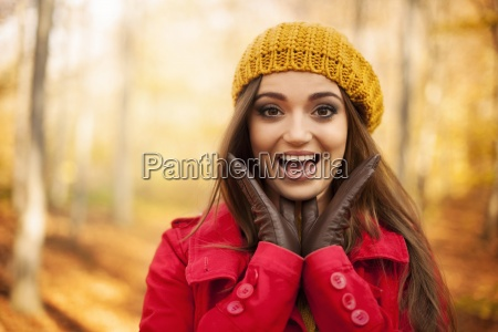 portrait, of, shocked, woman, in, autumn - 12109924