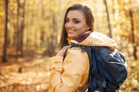 portrait of beautiful and smiling female