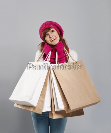 happy woman in winter clothes with